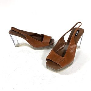 DKNY Brown Open Toe Clear Heeled Sandals 90s 70s